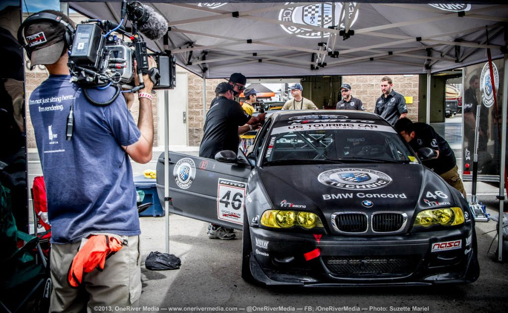 Marco Solorio shooting footage for his BMW documentary film at Miller Motorsports Park, Utah. This rig is an early build of the ENG BMCC rig.