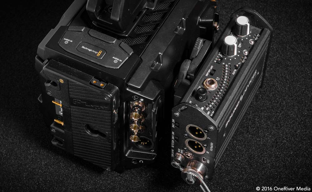 Sound Devices Mix Pre-D mounted snuggly to the URSA Mini 4.6K.