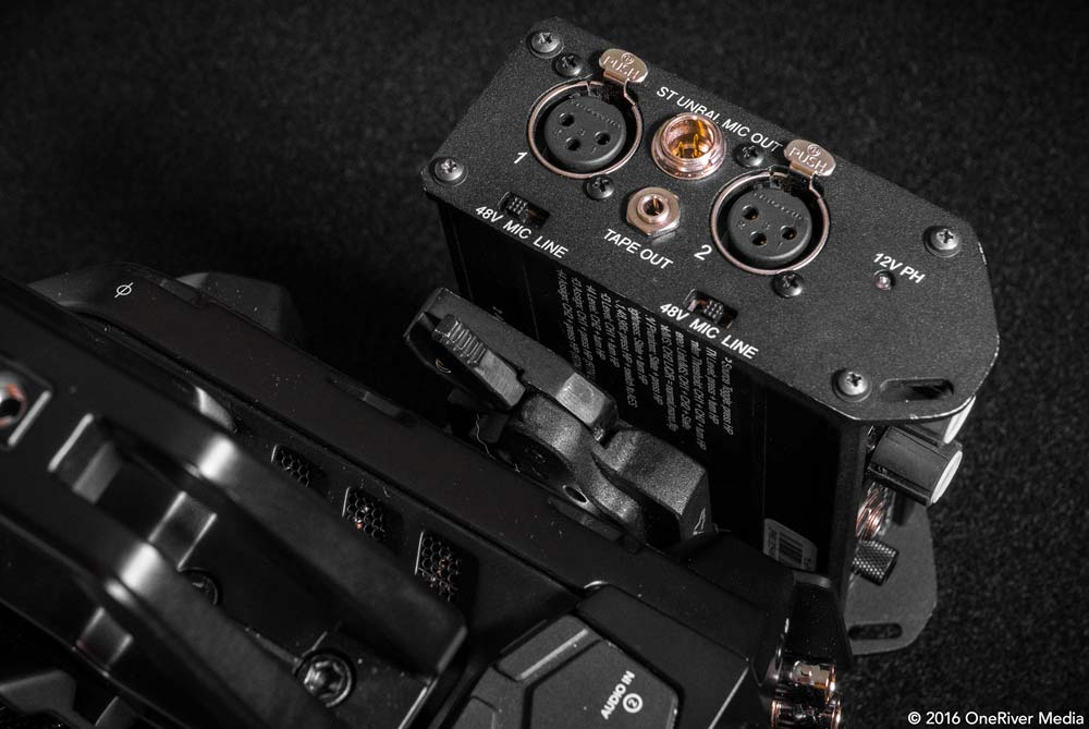 Vertically mounting the Sound Devices Mix Pre-D to the URSA Mini and easy-to-access QR lever.