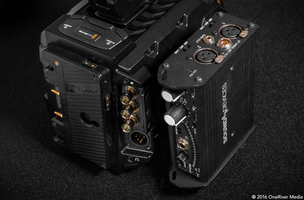 Vertically mounting the Sound Devices Mix Pre-D to the URSA Mini.