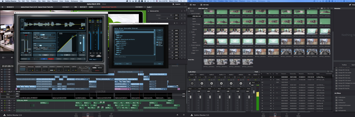 DaVinci Resolve integrates audio plugins seamlessly—at both the track level and clip level; this is key. Shown here is Izotope Alloy 2 (shown on the left screen), one of many plugins we incorporate into our edits.